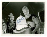 9z238 BUSTER CRABBE signed 8x10 REPRO still '80s as Flash Gordon with Jean Rogers as Dale Arden!