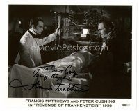9z246 FRANCIS MATTHEWS signed 8x10 REPRO still '80s with Peter Cushing in Revenge of Frankenstein!