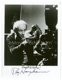9z279 RAY HARRYHAUSEN signed 8x10 REPRO still '80s the master animator with one of his creations!