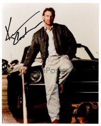 9z261 KEVIN COSTNER signed color 8x10 REPRO still '00s portrait leaning on car from Bull Durham!