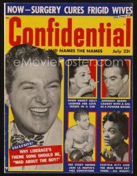 9z071 CONFIDENTIAL magazine July 1957 Jake La Motta's vice conviction, surgery cures frigid wives!