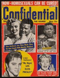 9z070 CONFIDENTIAL magazine May 1957 Marilyn Monroe, Joe DiMaggio, Floyd Patterson, Elvis Presley!
