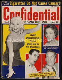 9z073 CONFIDENTIAL magazine November 1957 Jayne Mansfield, Joan Collins, Gene Kelly, John Huston!