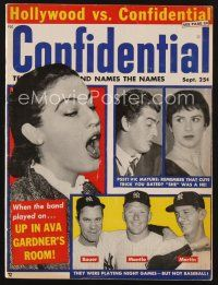 9z072 CONFIDENTIAL magazine September 1957 Victor Mature dated a man, New York Yankees misbehaving!
