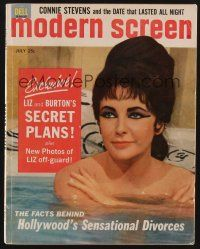 9z076 MODERN SCREEN magazine July 1963 new photos of Elizabeth Taylor caught off-guard!