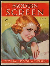 9z075 MODERN SCREEN magazine November 1931 wonderful art of pretty Elissa Landi!