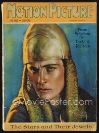 9z077 MOTION PICTURE magazine June 1926 art of Ramon Novarro in helmet by Marland Stone!