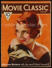 9z080 MOVIE CLASSIC magazine January 1932 art of sexy Peggy Shannon by Marland Stone!