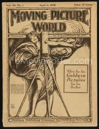 9z056 MOVING PICTURE WORLD exhibitor magazine April 5, 1919 filled with incredible art ads!