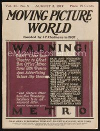 9z058 MOVING PICTURE WORLD exhibitor magazine August 2, 1919 Elmo the Mighty & other cool serials!