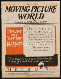 9z057 MOVING PICTURE WORLD exhibitor magazine June 21, 1919 Chaplin in Sunnyside, Texas Guinan!