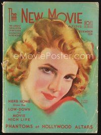 9z093 NEW MOVIE MAGAZINE magazine December 1931 artwork of Elissa Landi by Andreas Randal!