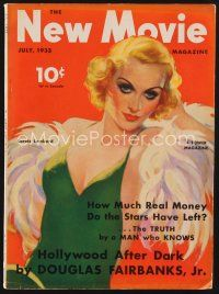 9z094 NEW MOVIE MAGAZINE magazine July 1933 great art of sexy Carole Lombard by Edward L. Chase!