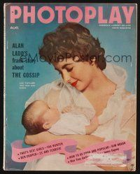 9z095 PHOTOPLAY magazine August 1955 portrait of Elizabeth Taylor and her new son Chris!