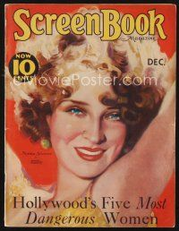 9z100 SCREEN BOOK magazine December 1931 art of pretty Norma Shearer by Martha Sawyer!