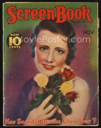 9z099 SCREEN BOOK magazine November 1931 wonderful portrait of Irene Dunne by Edwin Bower Hesser!