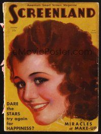 9z104 SCREENLAND magazine October 1930 art of pretty smiling Janet Gaynor by Rolf Armstrong!