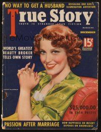9z108 TRUE STORY magazine December 1937 wonderful portrait of Jeanette MacDonald by Tchetchet!