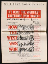 9z173 HOW THE WEST WAS WON pressbook '64 John Ford, Debbie Reynolds, Gregory Peck & all-star cast!