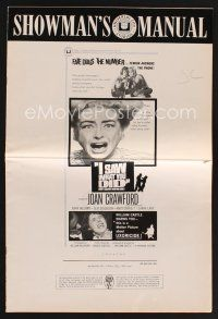 9z177 I SAW WHAT YOU DID pressbook '65 Joan Crawford, William Castle, you may be the next target!