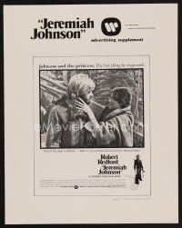 9z180 JEREMIAH JOHNSON pressbook supplement '72 Robert Redford, directed by Sydney Pollack!