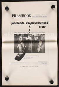 9z186 KLUTE pressbook '71 Donald Sutherland helps intended murder victim & call girl Jane Fonda!