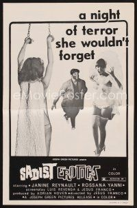 9z217 SADIST EROTICA pressbook '67 Jess Franco, a night of terror she wouldn't forget!