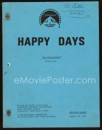 9z127 HAPPY DAYS TV shooting script August 25, 1977, screenplay by Marty Nadler, Fonsilectomy!