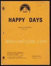9z129 HAPPY DAYS TV shooting script February 9, 1978, screenplay for Fonzie for the Defense!