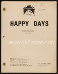9z126 HAPPY DAYS TV revised shooting script October 6, 1978, screenplay for Richie Gets Framed!