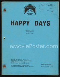 9z128 HAPPY DAYS TV shooting script February 23, 1978, screenplay for the episode Second Wind!