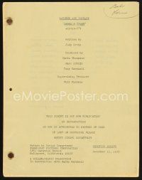 9z135 LAVERNE & SHIRLEY TV shooting script December 11, 1978, screenplay for Lenny's Crush!