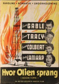 9z341 BOOM TOWN Danish program '46 Clark Gable, Spencer Tracy, Colbert, Hedy Lamarr, different!