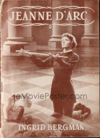 9z344 JOAN OF ARC Danish program '49 different images of Ingrid Bergman in the title role!