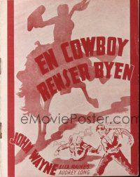 9z361 TALL IN THE SADDLE Danish program '47 different images of John Wayne & pretty Ella Raines!