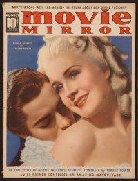 9z084 MOVIE MIRROR magazine August 1938 c/u of Norma Shearer & Tyrone Power by Robert Reid!