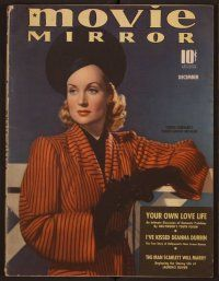 9z087 MOVIE MIRROR magazine December 1939 portrait of beautiful Carole Lombard by Paul Duval!