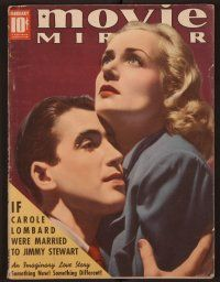 9z086 MOVIE MIRROR magazine February 1939 c/u of Carole Lombard & James Stewart by Robert Reid!