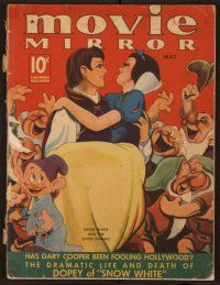 9z083 MOVIE MIRROR magazine May 1938, different art of Snow White & the 7 Dwarfs by Robert Reid!