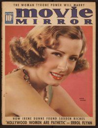 9z085 MOVIE MIRROR magazine October 1938 c/u portrait of pretty Irene Dunne by James Doolittle!