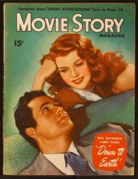 9z091 MOVIE STORY magazine June 1947 portrait of sexy Rita Hayworth & Larry Parks in Down to Earth!