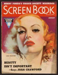 9z101 SCREEN BOOK magazine January 1937 wonderful art of Joan Crawford by Mozert!