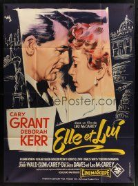 1b008 AFFAIR TO REMEMBER French 1p '57 art of Cary Grant about to kiss Deborah Kerr by R. Geleng!