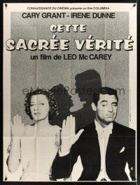 1b012 AWFUL TRUTH French 1p R80s different image of Cary Grant in tux with pretty Irene Dunne!