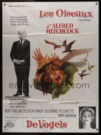 1b018 BIRDS CinePoster REPRO French/Belgian 1p '70s Hitchcock, art of Tippi Hedren attacked by birds
