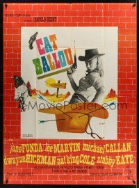 1b025 CAT BALLOU French 1p '65 different art of classic sexy cowgirl Jane Fonda by Siry!