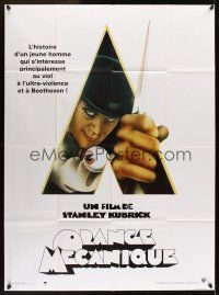 1b029 CLOCKWORK ORANGE French 1p R90s Stanley Kubrick classic, Castle art of Malcolm McDowell!