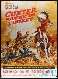 1b032 CUSTER OF THE WEST French 1p '68 art of Robert Shaw vs Indians at Battle of Little Big Horn!