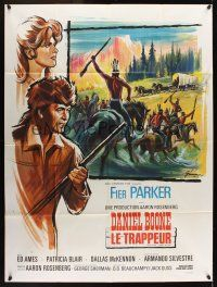 1b033 DANIEL BOONE FRONTIER TRAIL RIDER French 1p '66 art of Fess Parker by Boris Grinsson!
