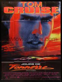 1b034 DAYS OF THUNDER French 1p '90 super close image of angry NASCAR race car driver Tom Cruise!